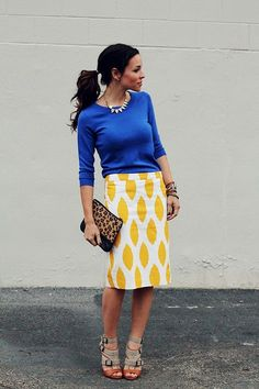 patterned skirt + solid top