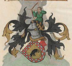 Armorial de la Table ronde.  Date d'édition :  1490-1500  Ms-4976  Folio 161r