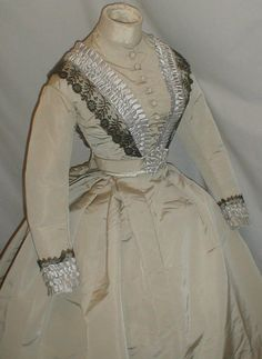Enchanting 1860's Light Gray Silk Dress Museum de Accessioned | eBay