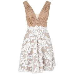 HANNAH NUDE IVORY PROM DRESS Forever Unique ($345) ❤ liked on Polyvore featuring dresses, ivory lace dress, white sequin dress, winter white dress, lace dress and ivory prom dresses