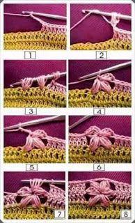 Crochet Blanket Edging, Granny Square Crochet Pattern, Crochet Stitches Patterns, Crochet Designs, Knitting Patterns, Crochet Cap, Crochet Trim, Crochet Motif, Crochet Flowers