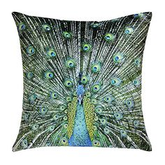 JW Peacock Throw Pillow Cases Soft Velvet Cushion Covers Blue Sequins Feather Pillowcases Home Sofa Bed Room Office Chair Decor Pillow Shams 18 x 18 Inch *** Continue to the product at the image link.-It is an affiliate link to Amazon. #DecorativePillowsInsertsCovers