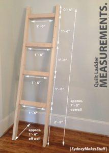 DIY Quilt Ladder – Step by step instructions on how to make your own display f. DIY Quilt Ladder – Step by step instructions on how to make your own display for quilts and blank Woodworking For Kids, Woodworking Projects Diy, Diy Wood Projects, Furniture Projects, Woodworking Plans, Woodworking Techniques, Woodworking Shop, Woodworking Furniture, Woodworking Organization
