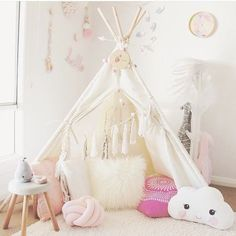 """""""The cutest little teepee + accessories! Love the cloud pillow!!"""