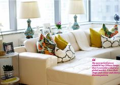 cushions and chinese lamps