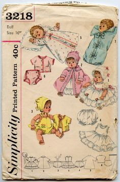 1950s Doll Clothes Pattern Simplicity 3218 16 by GreyDogVintage, $12.00
