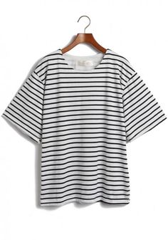 White Striped Round Neck Bat Sleeve Cotton T-Shirt