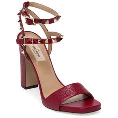 Valentino Rockstud Leather Ankle-Strap Sandals ($995) ❤ liked on Polyvore featuring shoes, sandals, red, genuine leather shoes, leather shoes, red leather shoes, valentino sandals and leather lined shoes
