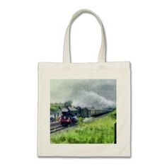 Steam Train Canvas Bag featuring GWR 6000 class 'King George V' passing through Corsham station (Wiltshire) in 1983 Tote bags, Made from 100% cotton, available in a range of sizes