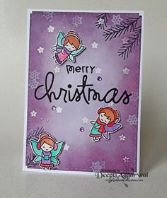 Handmade Christmas Card with frosty fairies stamp of lawn fawn.