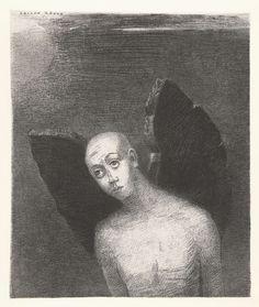 De gevallen engel slaat zijn zwarte vleugels uit, Odilon Redon, 1886