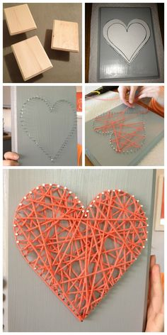 DIY string art, yarn nail project, heart,  Popular with the Poplins