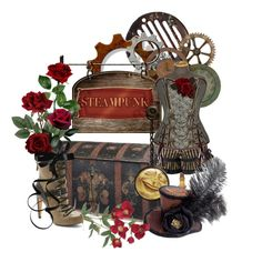 Designer Clothes, Shoes & Bags for Women Steampunk Cards, Steam Punk Jewelry, Punk Fashion, South Africa, Fashion Jewelry, Roses, Scrapbooking, Polyvore, Crafts