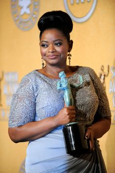 Octavia Spencer at the 2012 SAG Awards, Makeup by Beau Nelson (Please keep credits intact)