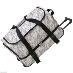 "NEW 24"" Digital Camo Travel Luggage Trolley Rolling Duffle Bag with wheels"