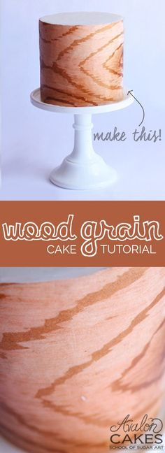 Wood Grain Tutorial! This video tutorial will show you how to achieve the look of wood grain on cake! Click through to see more.