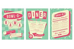 1950s Diner Backgrounds and Frames Vector Downloads
