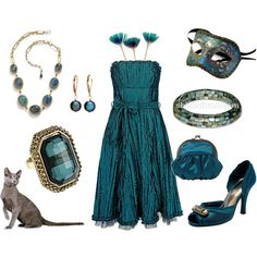 """""""teal/gold"""" by msdj on Polyvore"""