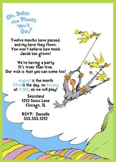 Dr. Seuss 1st Birthday Invitation, Oh, baby the places you'll go, blue