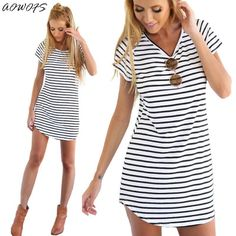cd94a49fbe Women Casual Loose Short Sleeve O-Neck Loose Striped Print Dresses Casual  Mini Dress Stylish