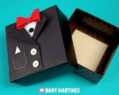 Make this super cool Tuxedo Gift Box and fill with your groomsmen gift! Owl Birthday Parties, Creative Birthday Gifts, Diy Birthday, Easy Diy Gifts, Diy Gift Box, Diy Crafts For Gifts, Diy Leather Wallet Pattern, Diy Wedding Ring, Exploding Gift Box