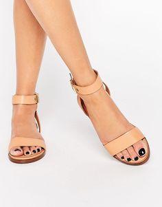 ALDO Erina Nude Simple Strap Flat Sandals / ASOS