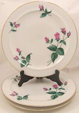 Easterling Radiance 3 Dinner Plates White China with Pink Roses
