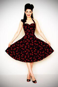 50's Style BadaBing Black Cherry Swing Dress