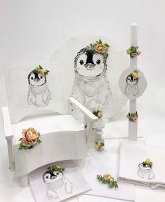 Πακέτο βάπτισης για κορίτσι με vintage ύφος της Έλενας Μανάκου με θέμα πιγκουίνο με λουλούδια, annassecret,