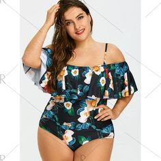 Chiczz Plus Size One Piece Flounce Swimsuit Off Shoulder Printed Plus Size One Piece, Looks Plus Size, Plus Size Model, Plus Size Bikini, Plus Size Swimsuits, Plus Swimwear, Curvy Swimwear, Tankini Top, Womens Fashion