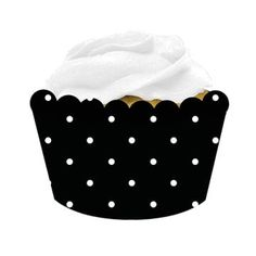 Cupcake cups (Wrappers) - Black & White Dot - so cute for any occasion or wedding. Double use for filling cups with little treats or nuts!