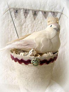 Handmade Christmas Bird Christmas Decoration Winter White Christmas Dove Vintage Bird