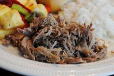 Kalua Pork laua style pork made in the crockpot; only 3 ingredients