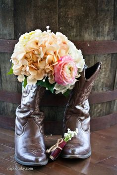 Burlap and Lace Wedding  shotgun shell boutonniere with brides cowboy boots