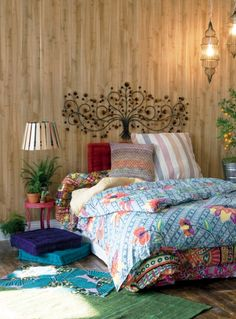 """Love the caged lanterns and the tree """"headboard"""" - 40 Bohemian Chic Bedroom Design Ideas Bohemian Bedrooms, Bohemian Bedroom Decor, Room Decor Bedroom, Bedroom Ideas, Bedroom Designs, Cosy Bedroom, Bedroom Inspiration, Bohemian Room, Bedroom Curtains"""