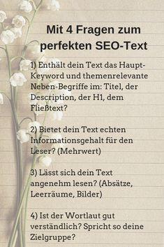 4 Fragen helfen dir, deinen Text nach allen SEO-Regeln zu optimieren! Im zugehörigen Blog-Beitrag erhältst du noch weitere interessante Infos.  #suchmaschinenoptimierung #content-marketing #seo-content #online-marketing #seo #bloggen #texten #seo-tipps Inbound Marketing, Affiliate Marketing, Content Marketing, Social Media Marketing, Best Seo Software, Best Seo Tools, Seo Online, Seo Tutorial, Seo Sem