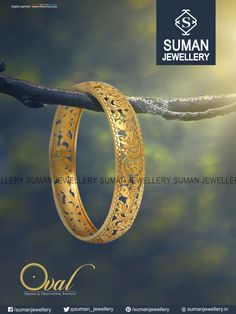 Decorate your hand with this beautifully crafted master piece Bangle only from Suman jewellery Gold Bangles For Women, Mens Gold Jewelry, Gold Jewellery Design, Bridal Jewelry, Italian Gold Jewelry, Gold Bangle Bracelet, Antique Jewelry, Indian, Rasheeda