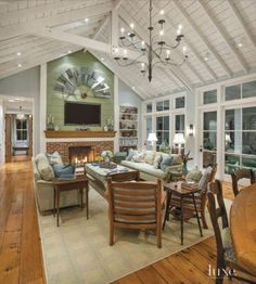 Multi-Colored Country Family Room