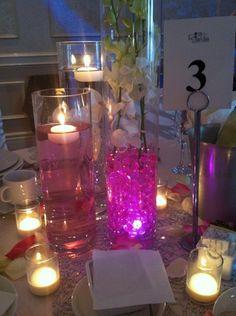 Honeylet + Arturo Centrepiece Le Jardin Wedding Toronto Pink Green White DIY Centrepiece Floating Orchid Pink Water Gel Beads Votive Candles 1