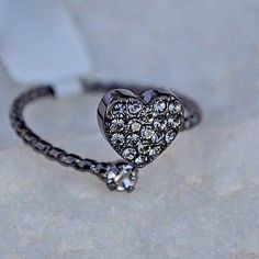 CZ Cubic Zirconia Heart Wrap Ring Black Sterling Silver Love  Bridal Valentine  #mgk #SolitairewithAccents