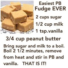 Easy Peanut Butter Fudge Can add c. chocolate chips & nuts & reduce the sugar for chocolate fudge! Köstliche Desserts, Delicious Desserts, Dessert Recipes, Yummy Food, Recipes Dinner, Cupcake Recipes, Homemade Candies, Homemade Marshmallows, Fudge Recipes