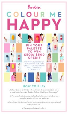 Never ones to cower from colour, pin your palette to win a whopping sum! For how to play, click here > www.boden.co.uk/colourmehappy