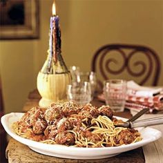 Spaghetti and Meatballs | MyRecipes.com. Going to make these meatballs and freeze ahead.