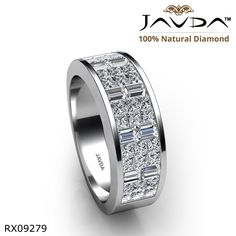 Princess Baguette Invisible Set Diamond Women Wedding Band 14k White Gold Ring.
