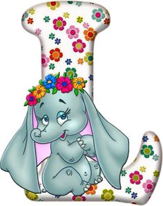 Flowered Alphabet with an Elephant. Flower Alphabet, Alphabet Letters, Dahlia Flower, Flowers, Alfabeto Disney, Mickey Mouse, Birthday Letters, Fancy Letters, Disney Coloring Pages