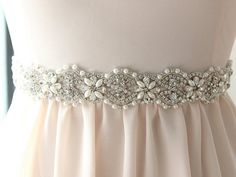 Bridal Belt / Crystal Beaded Wedding Sash / Rhinestone Belt / Wedding Sash {Sakura Belt with a hook and eye finish} on Etsy, $212.00