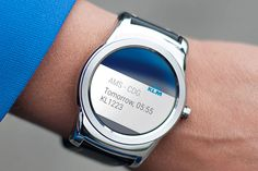 KLM Royal Dutch Airlines has launched an application with Android smartwatch technology that will provide passengers with specific trip information. Android Wear, Android Apps, Smartwatch, Smartphone, Product Launch, Dutch, Boarding Pass, Gadgets, Technology