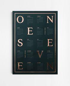 """ONE SEVEN"" Measurements: 50 x 70 cm Colors: Dark green and copper metallic foil Printed in Denmark Dark green uncoated paper letterpress..."