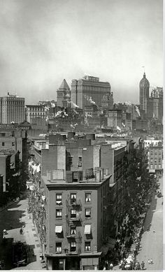 Downtown Manhattan, New York City, 1915, including Bankers Trust, Equitable Building, Liberty Tower and the Singer Building