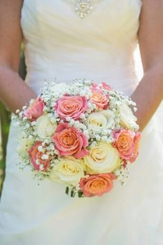 Miss Piggy Rose, Ivory Mondial Rose and Gypsophila Bouquet